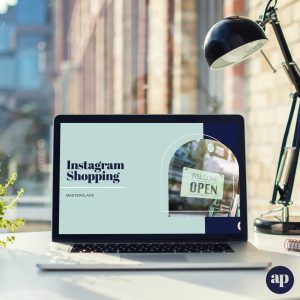 Laptop on desk with Instagram Shopping presentation
